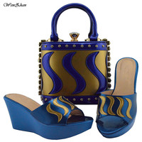Hottest African Shoes and Matching Bags Italian Nigerian Women Wedding Shoes and Bag Set Royal blue and gold style 38 42 B810 23