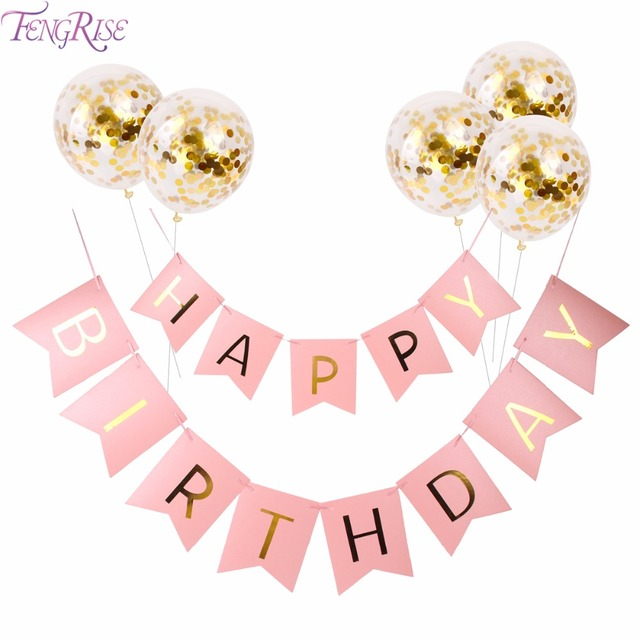 fengrise pink happy birthday banner gold confetti balloons letter