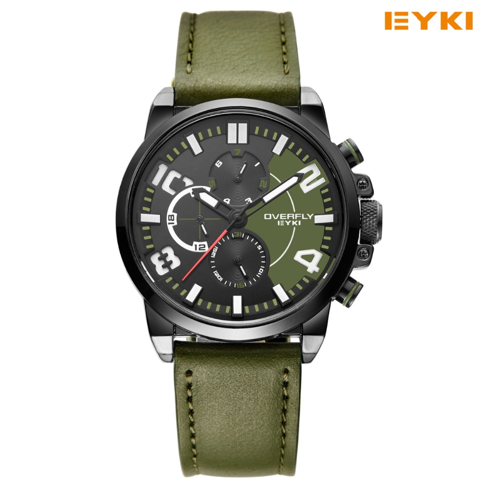 2016 EYKI Sport Watch Fashion Casual Design Russian Style Military Men Luxury Brand Real Three Dial 6 Pin Clock Wristwatch