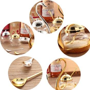 1 STÜCK Schwan Gewürzdosen Lagerung Zucker-schüssel Mit Löffel Gericht Küche Gewürz Können Dekoration Salz Container Weihnachten Neue Jahr
