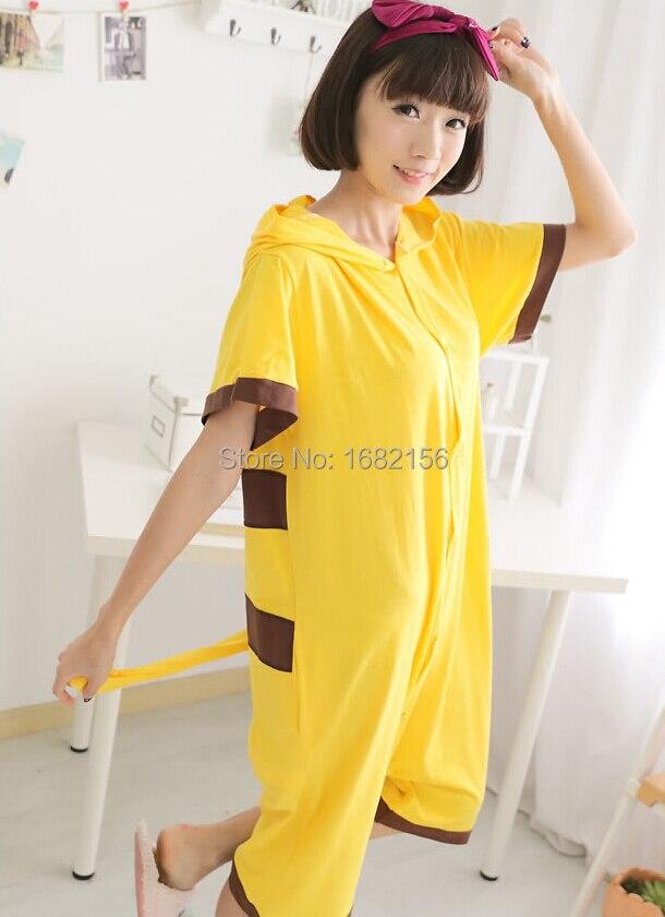 5f33eb4148 Pikachu Pajamas Animal Onesie Hoodie Pikachu Summer Short Sleeve Costume  Unisex 100% Cotton Pyjamas 3