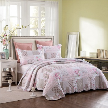 CHAUSUB New Quilt Set 3PCS Washed Cotton Quilts Quilted Bedspread Bed Cover Sheets Pillow Shams Floral Coverlet Set King Size