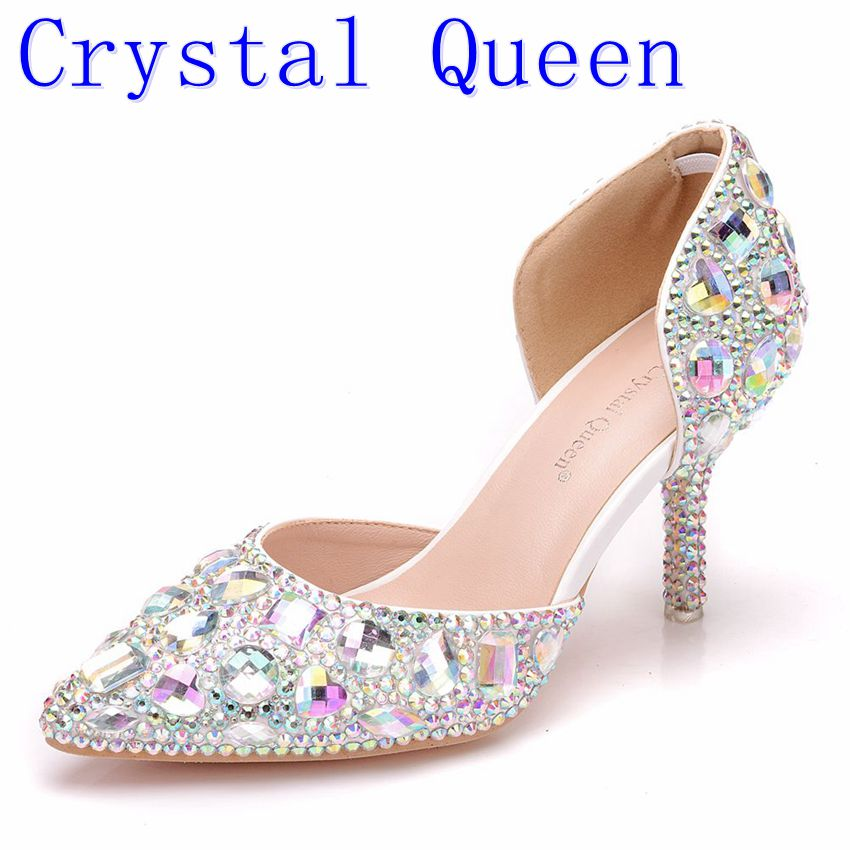 Crystal Queen Women Rhinestone Wedding Shoes Crystal High Heels Sandals Shoes 7CM Pointed Toe Bridal Dress Pumps Lady Shoes rhinestone wedding shoes ultra high heels thin heels wedding shoes aesthetic pointed toe formal dress shoes sandals