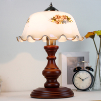 American Classic Retro table lamp stained glass lampshade wood Bracket bedroom bedside lamp office living room art deco lighting