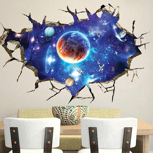 ⊰3D Outer Space Planet Print Slaapkamer Art Muurstickers Decal DIY ...
