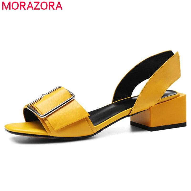 MORAZORA 2019 nouveauté chaussures en cuir véritable femmes sandales boucle chaussures d'été mode med talons robe chaussures de fête femme