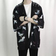 2018 d été Rétro Impression Hommes Kimono Cardigan Chemise Harajuku Rue Mince  Manteau Survêtement Occasionnel Lâche Chemise À Ma. ec1c00ac888f