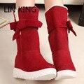 LIN REY Nuevo Estilo de Invierno Botas de Nieve Calientes Moda Bowtie Botines Casuales de Algodón Acolchado Zapatos de La Señora Ata Para Arriba Zapatos Famale