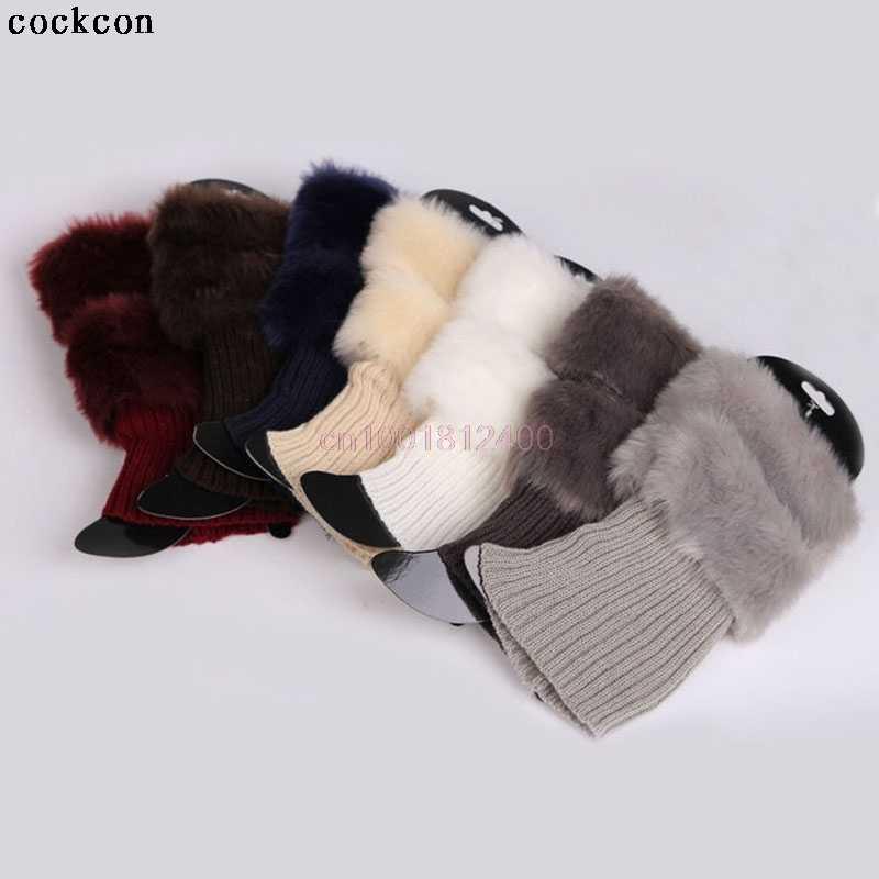 Kadınlar kış bacak isıtıcıları bayan tığ örgü Faux kürk Trim bacak çizme çorap Toppers manşetleri