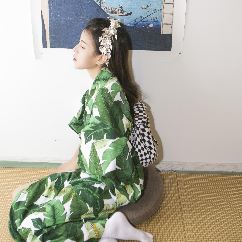 2019 High Green Japanese Style Women Kimono Traditional Yukata Without Obi Vintage Evening Dress Flower