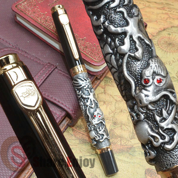 JINHAO AUSPICIOUS DRAGON OLD GREY AND GOLDEN ROLLER BALL PEN DRAGON EMBOSSED GOLDEN SILVER 3 COLORS FOR CHOOSE BEST GIFT комплект для татуировки oem 1 gig set golden dragon