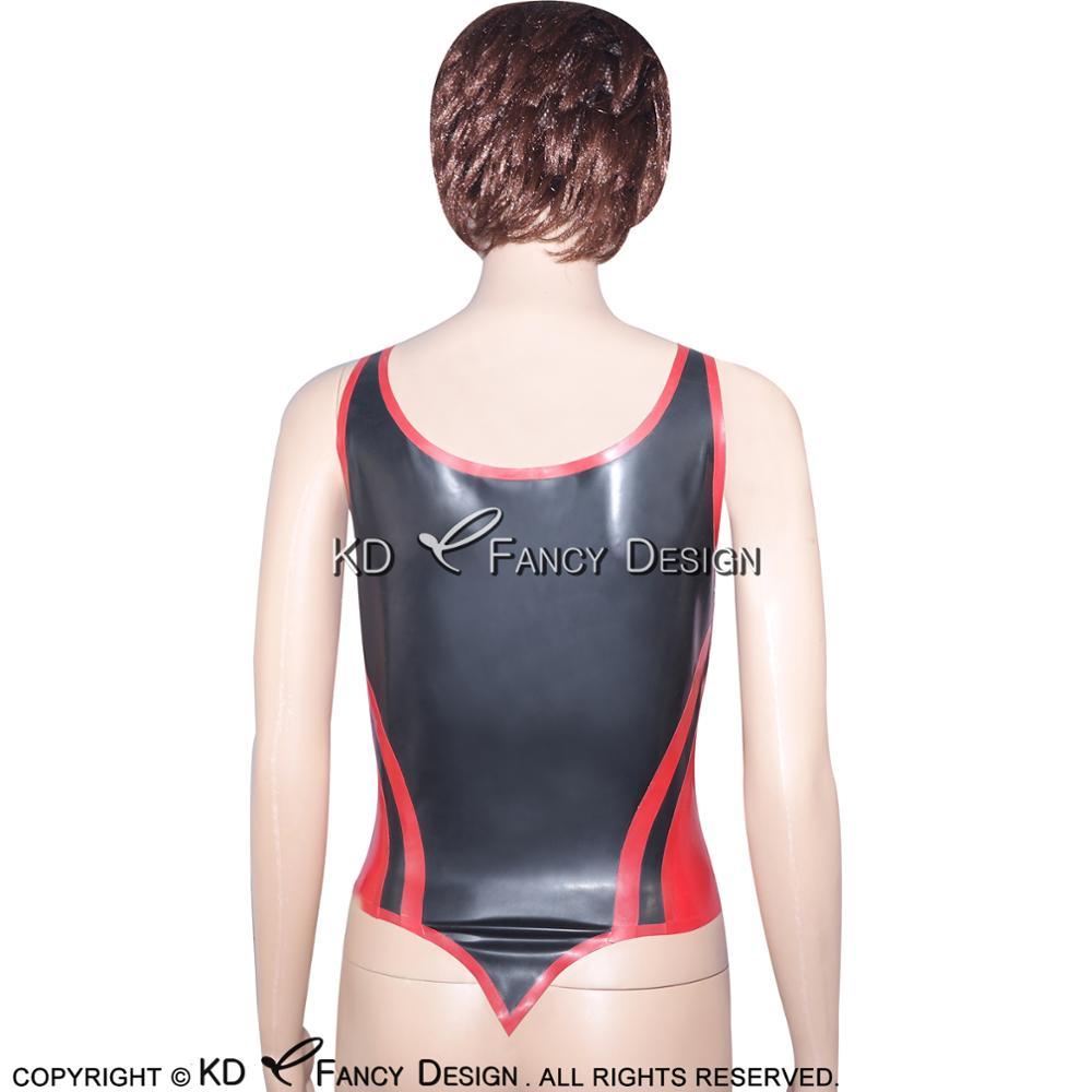 Noir avec garnitures rouges Sexy Latex chemise haute avec ceintures fermeture éclair à l'avant en caoutchouc sous-vêtements vêtements YF-0020 - 3