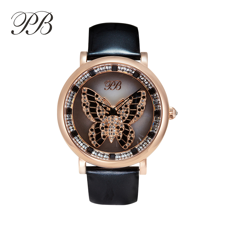 New Arrival Famous PB Brand Princess Butterfly Watch The Lucky Rotate Lady Element Crystal Luxury Rhinestone Watch the little old lady who struck lucky again