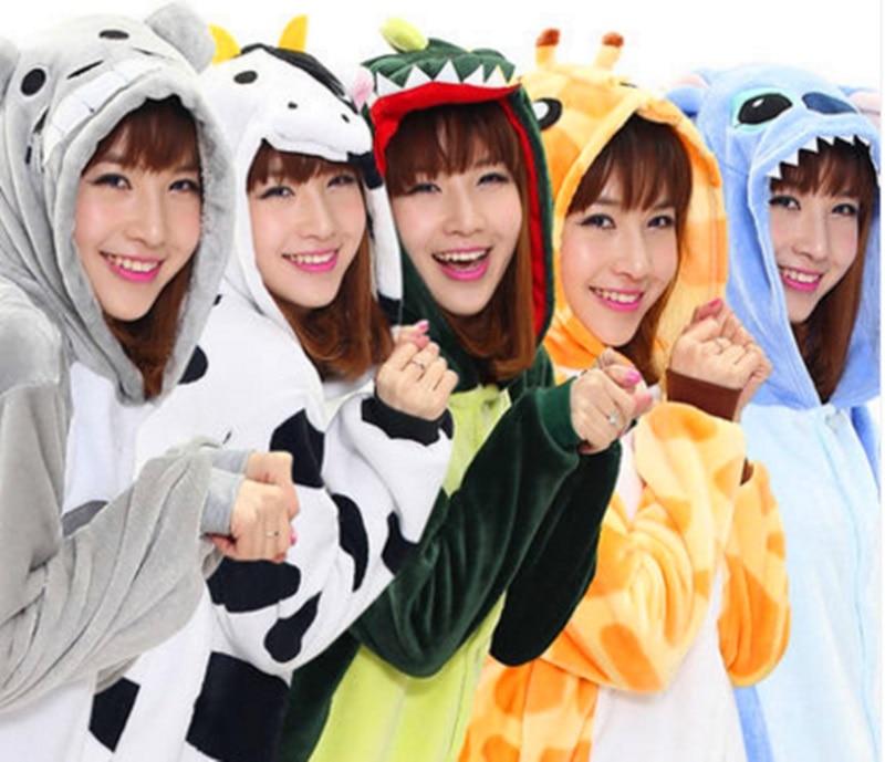 Flannel Women Men Pajama Cartoon Unisex Cosplay Sleepwear Homewear Animal onsies Pijama set for Lovers Couples ...