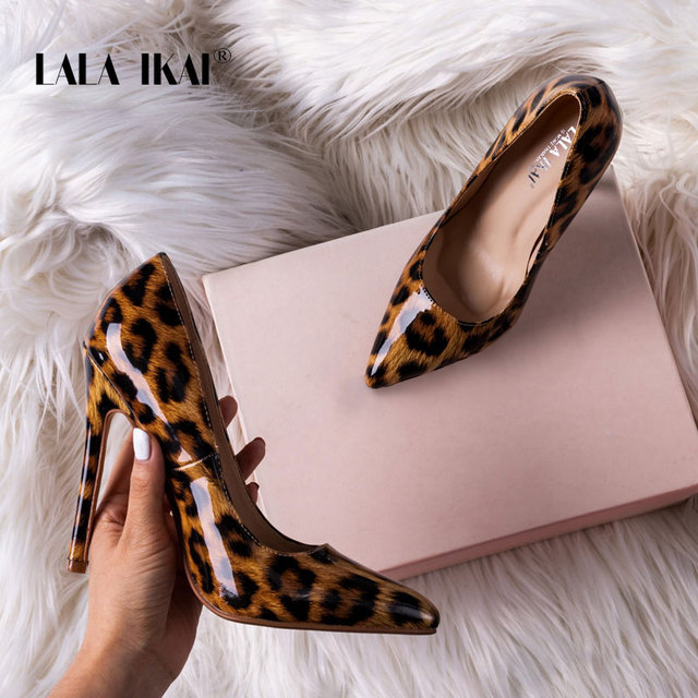 ffd9550ec LALA IKAI High Heels Women Pumps Leopard Shoes PU Pointed Toe Office Lady  Sexy 12 cm