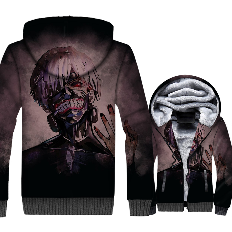 Japan Anime Tokyo Ghoul Jacket Men Kaneki Ken Hoodie Sweatshirt New Winter Thick Fleece Zipper 3D Print Coat Harajuku Sportsweat