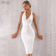 цена ADYCE 2019 New Summer Women Bodycon Bandage Dress Sexy Halter V Neck Backless Club Dress Vestidos Celebrity Evening Party Dress в интернет-магазинах