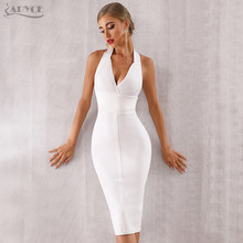 ADYCE 2019 Nieuwe Zomer Vrouwen Bodycon Bandage Jurk Sexy Halter V-hals Backless Club Jurk Vestidos Celebrity Avond Party Dress(China)