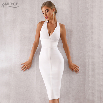 a58242bc1f26 Hot Deals ADYCE 2019 New Summer Women Bodycon Bandage Dress Sexy Halter V  Neck Backless Club Dress Vestidos Celebrity Evening Party Dress