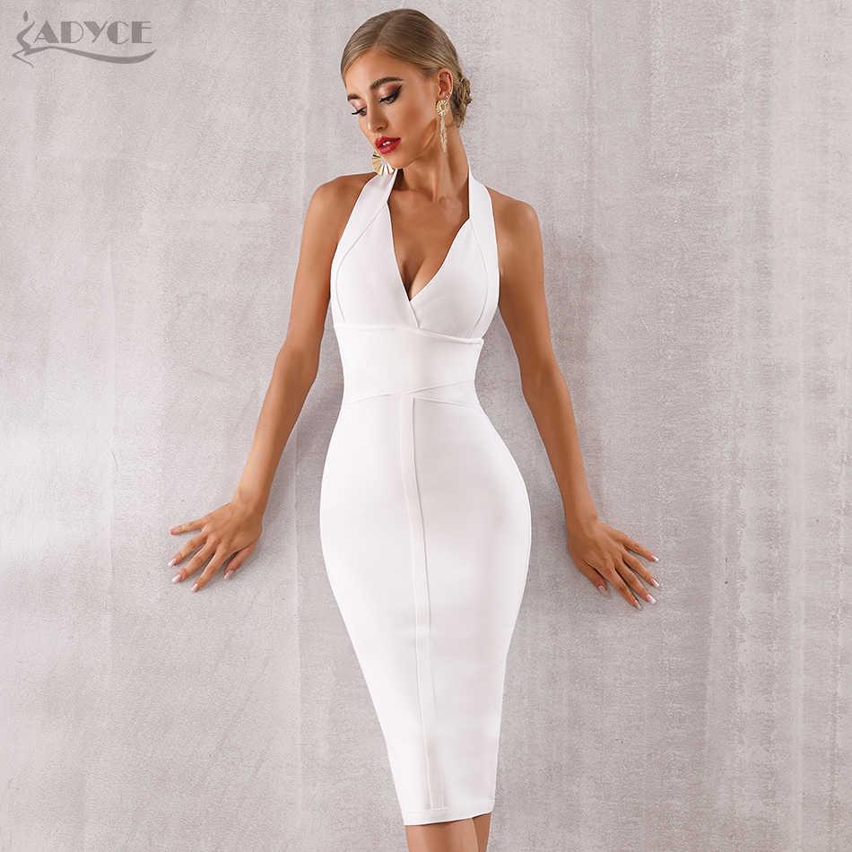 ADYCE 2019 новое летнее женское утягивающий бандаж сексуальное платье с v-образным вырезом и открытой спиной, Клубное платье Vestidos, вечернее платье знаменитостей