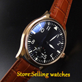 Parnis 44mm black Golden case screw-in back cover 6498 hand winding movement Men's watch