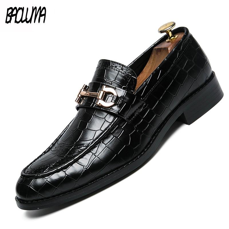 Men Dress Shoes Leather Brown Formal Man Wedding Shoe Elegant Luxury Suit Shoes Big Size Fashion Party  Shoes Pointed Toe Flats
