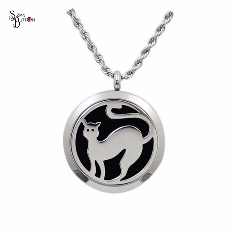 30mm stainless steel essential oil diffusing cat locket necklace aromatherapy perfume locket pendant(free felt pads locket only)