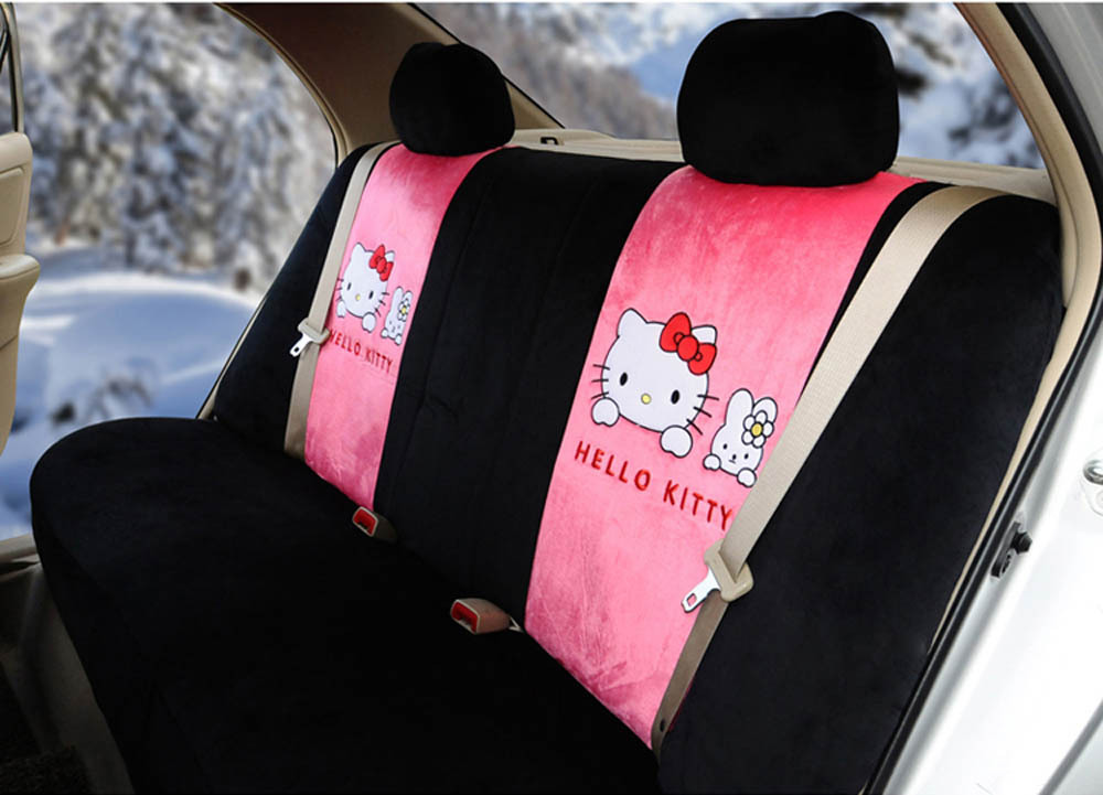 Hello Kitty 18pcs Universal Car Seat Covers Soft Plush Pink Black Steering Wheel Cover Front And Rear In Automobiles From