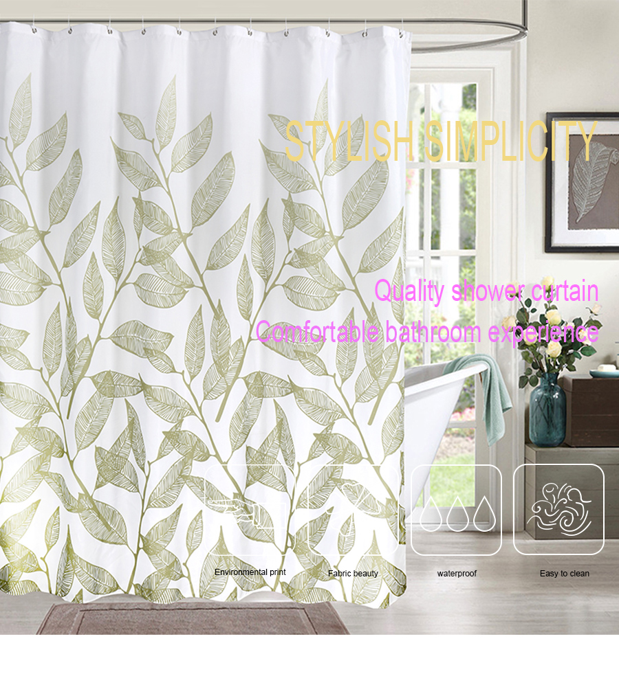 Green Plant Leaf Print Shower Curtains Simple Elegant Curtain For Bathroom High Quality Waterproof Polyester Fabric Bath