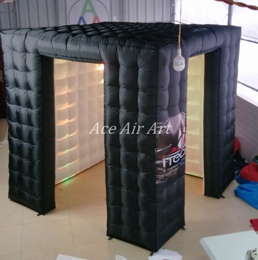 customized logo black outside and white inside Inflatable photo booth enclosure with door next to door with lights system
