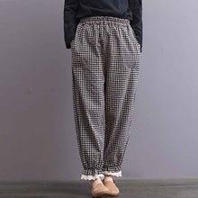 a1b61473bda49 2018 ZANZEA D été Occasionnels Pantalon Femmes Taille Élastique Poches Vintage  Vérifier Plaid Harem Pantalon Coton Lin Navet Pan.