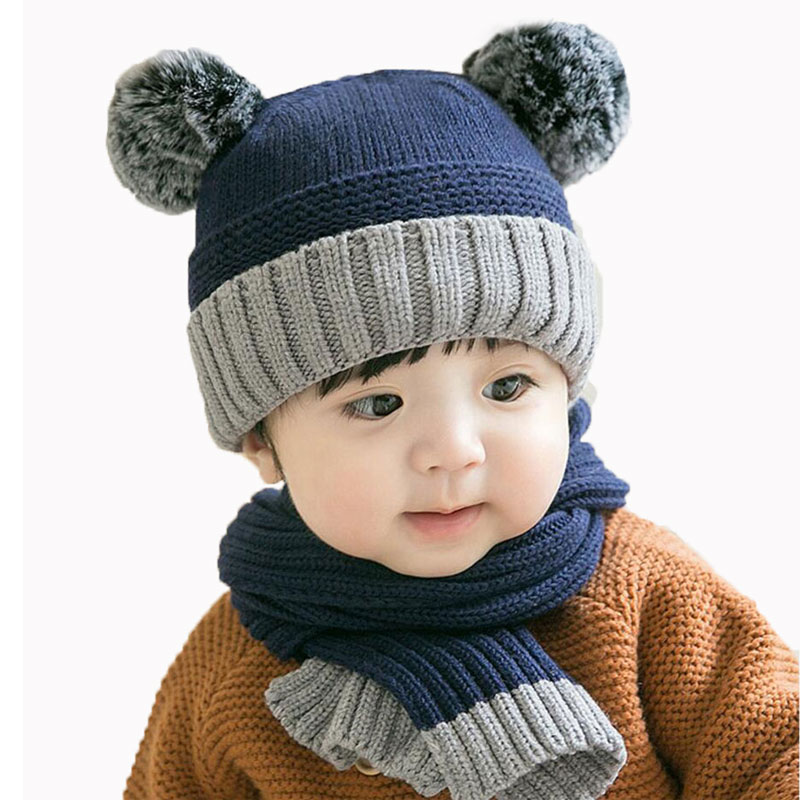 Winter Baby Girl Hat And Scarf Set For Child Cap Scarves Kids Patchwork Knitted Pom Pom Beanie Cap Skullies Boys Warm 2 Pcs Suit