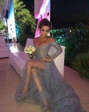 Sexy Abendkleider Vestido De Formatura V-Ausschnitt Open Back Grau Perlen Spitze Lange Durchsichtig Prom Kleider