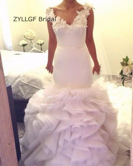 Zyllgf Bridal Mermaid V Neck Vestido Casamento Novia Ruffled Bottom
