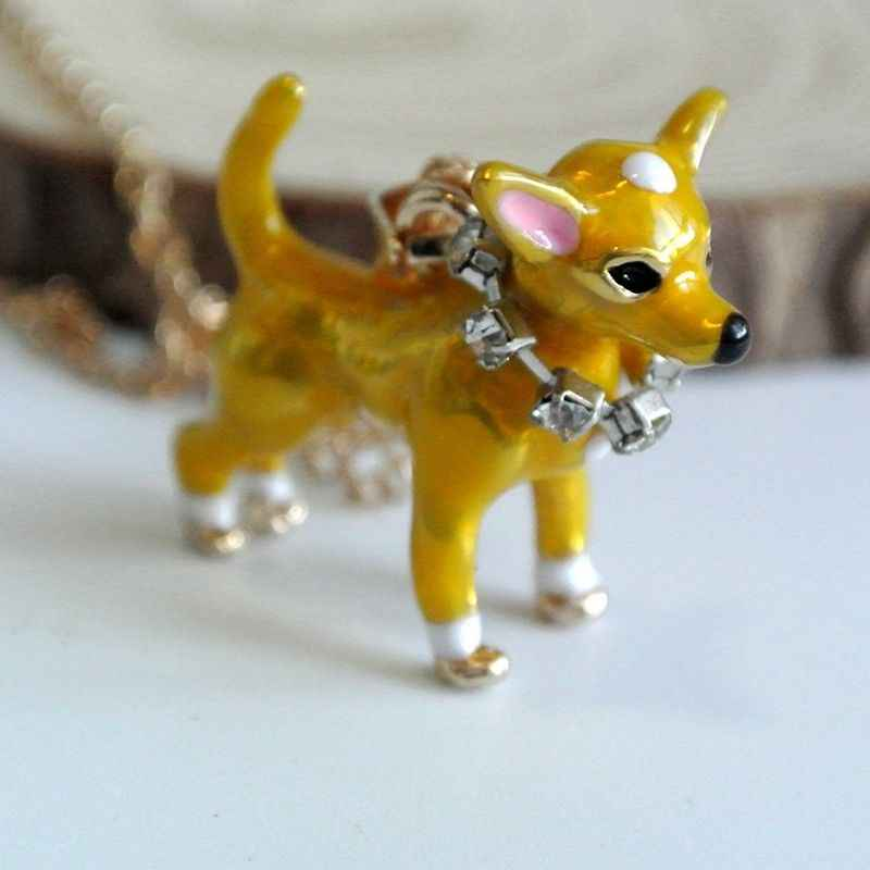 Cute Dog Puppy Chihuahua Animal Pendant Necklaces Women Gold Chains Necklace Jewelry Girls Ladies Alloy Fashion Kids Jewlery