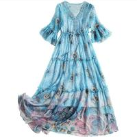 European Runway Dress 2019 Spring Summer Women Elegant Ruffles Half Sleeve Floral Printed Chiffon Mid Dress Bohemian Beach Dress