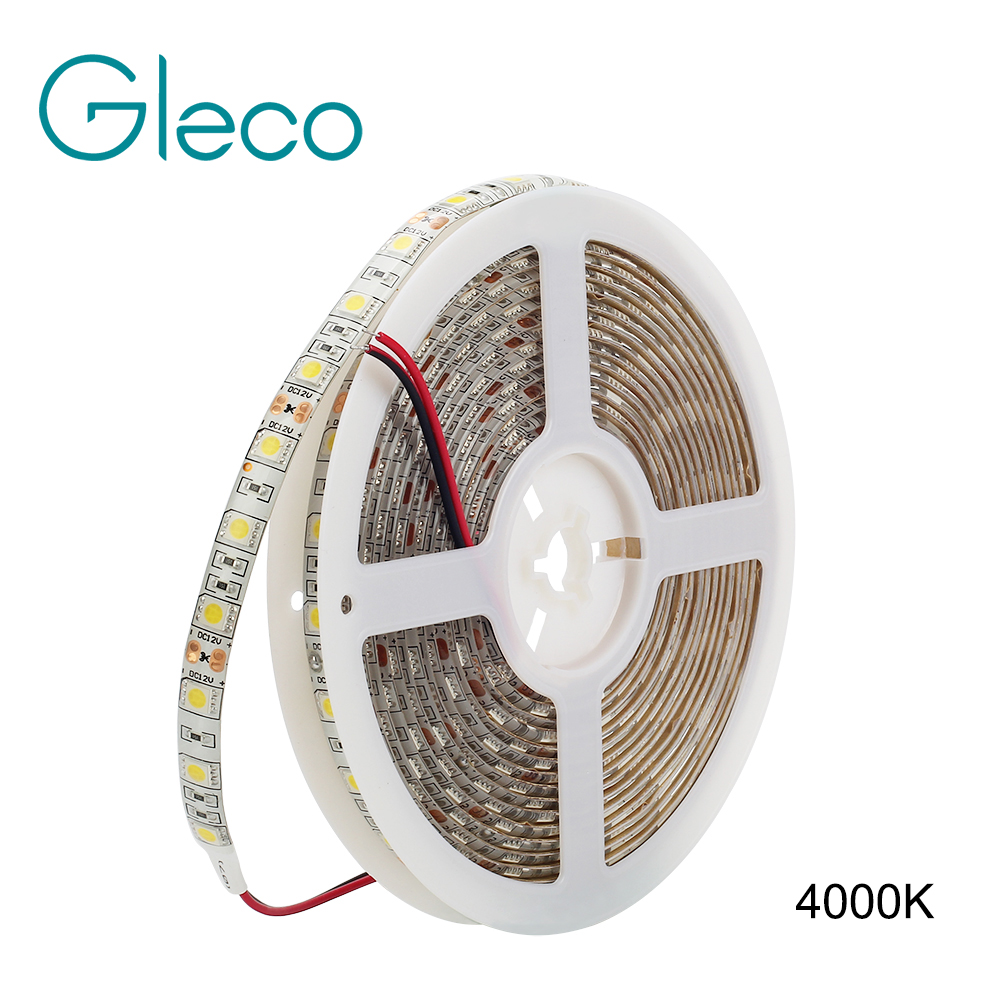 DC12V Neutral White 4000K LED Strip 5050 60led/m,5m/lot Flexible Light 5050 LED Strip Light IP20 IP65