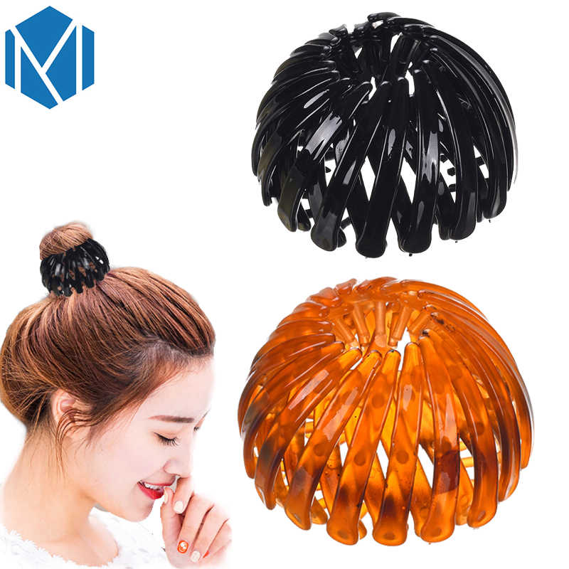 M MISM New Fashion Ponytail Bun Holder Hair Ornaments Adjustable Bud Hair Clip Hairpin For Women Hair Accessories Flower Claws