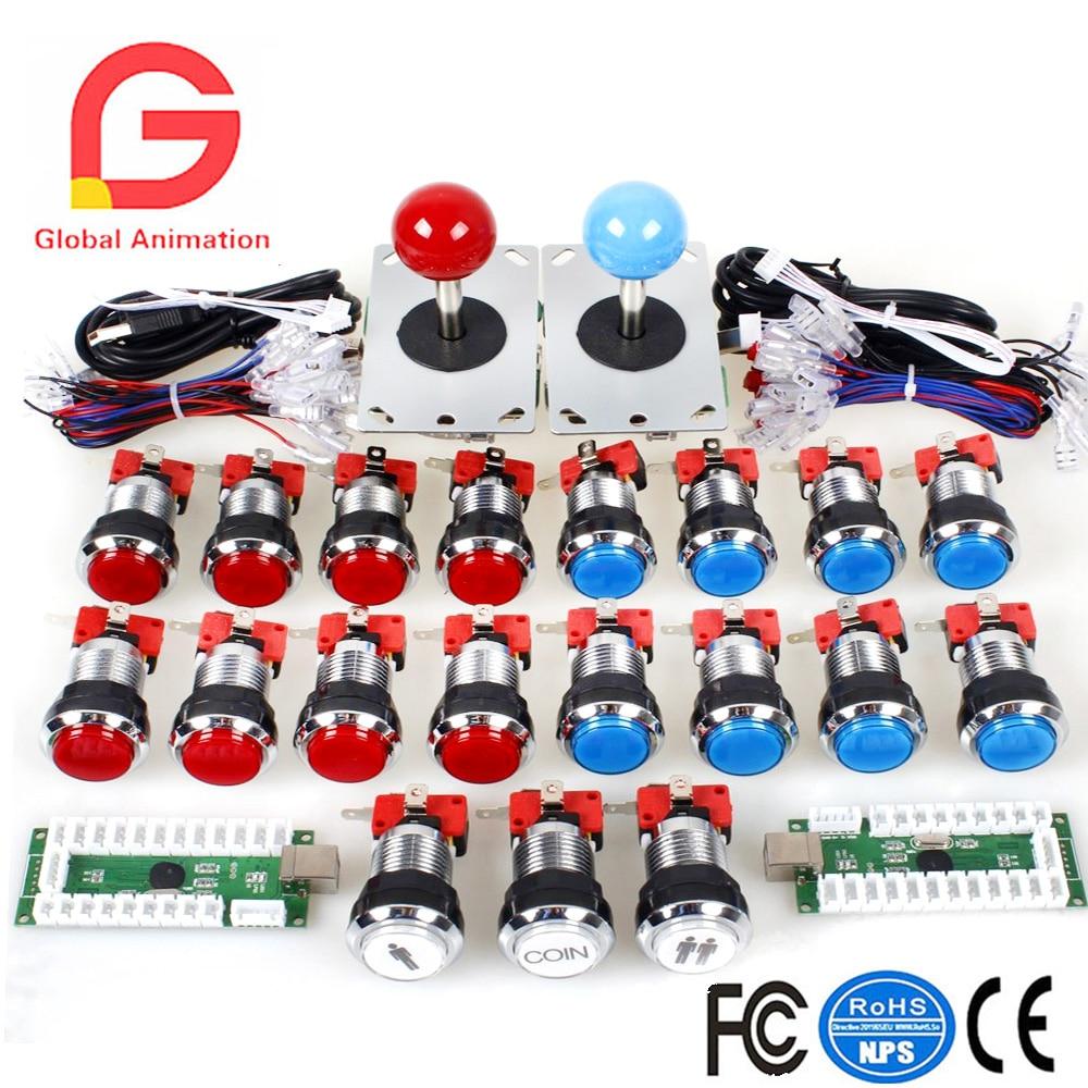 Classique Arcade Concours DIY Retropie Cabinet Kits USB Encoder pour Joystick PC Jeux + Chrome Placage LED Poussoir Lumineux Bouton