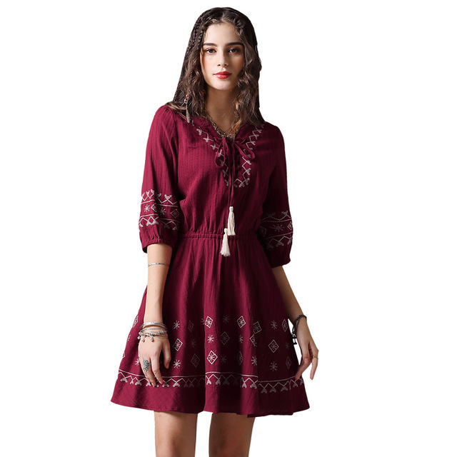 Brand boutique women 39 s clothing 2019 spring and autumn new heavy industry embroidery V neck large swing lace dress women in Dresses from Women 39 s Clothing