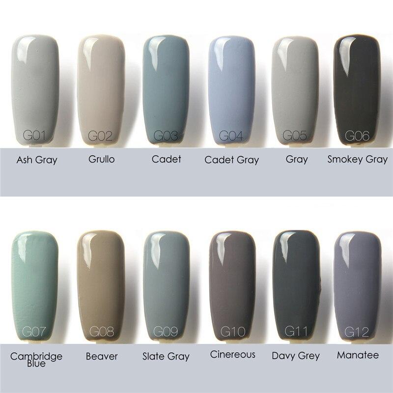 FOCALLURE 12ML Gray Color Gel Nail Polish Gray Series Nail Gel ...