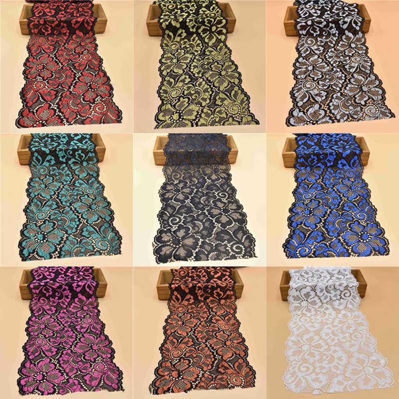 1yard elastik dantel şerit 18CM genişliğinde işlemeli nijeryalı afrika dantel kumaş Beyaz Streç işlemeli dantel süslemeler için dikiş
