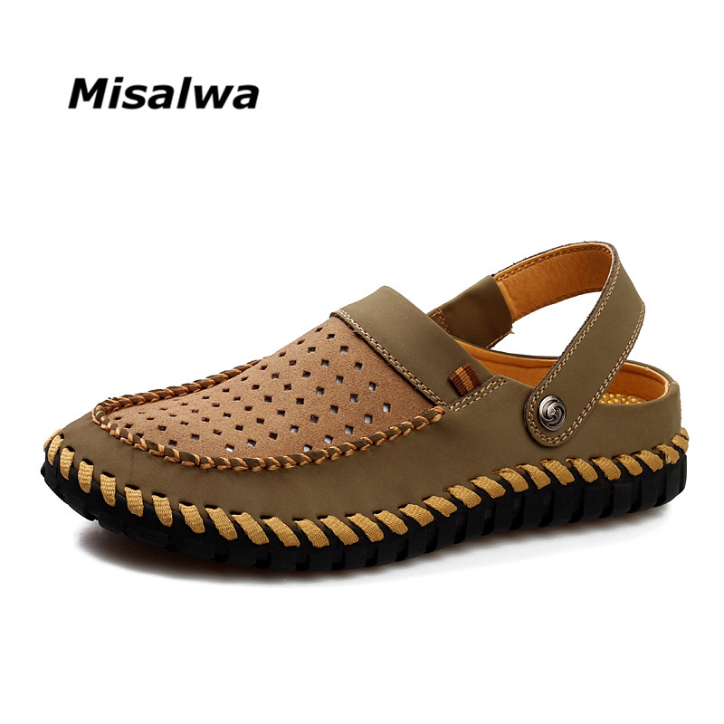 Misalwa Summer Genuine Leather Shoes Men Breathable Hollow Out Fashion One Shoe Two Wear Men Summer Sandals