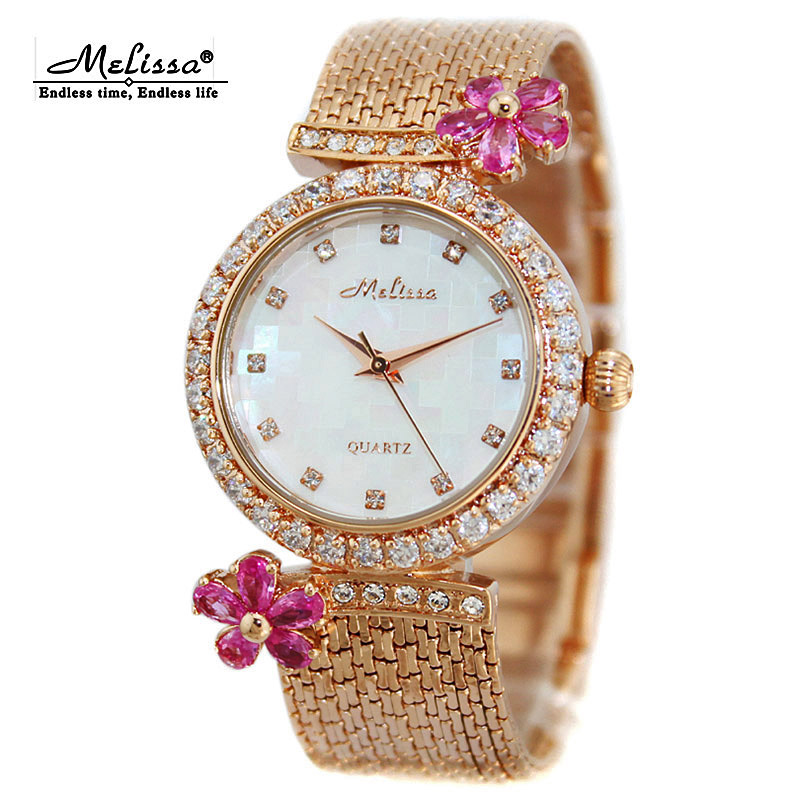 Top Melissa Lady Women's Watch Japan Quartz Fashion Tassel Bracelet Rhinestone Luxury Crystal Flower Girl Birthday Gift fashion modern silver crystal flower quartz pocket watch necklace pendant women lady girl birthday gift relogio de bolso antigo