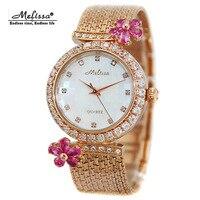 Top Melissa Lady Women's Watch Japan Quartz Fashion Tassel Bracelet Rhinestone Luxury Crystal Flower Girl's Birthday Gift Box
