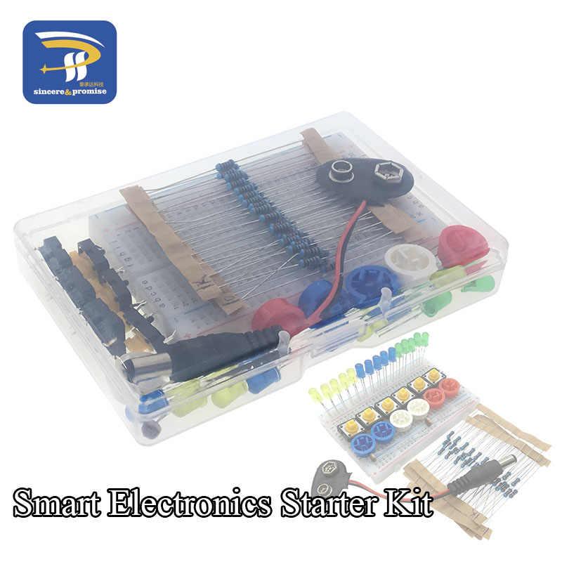 Kit de bricolage de démarreur électronique intelligent pour arduino uno r3 mini 400 point platine de prototypage LED bouton de fil de cavalier avec boîte de boîtier