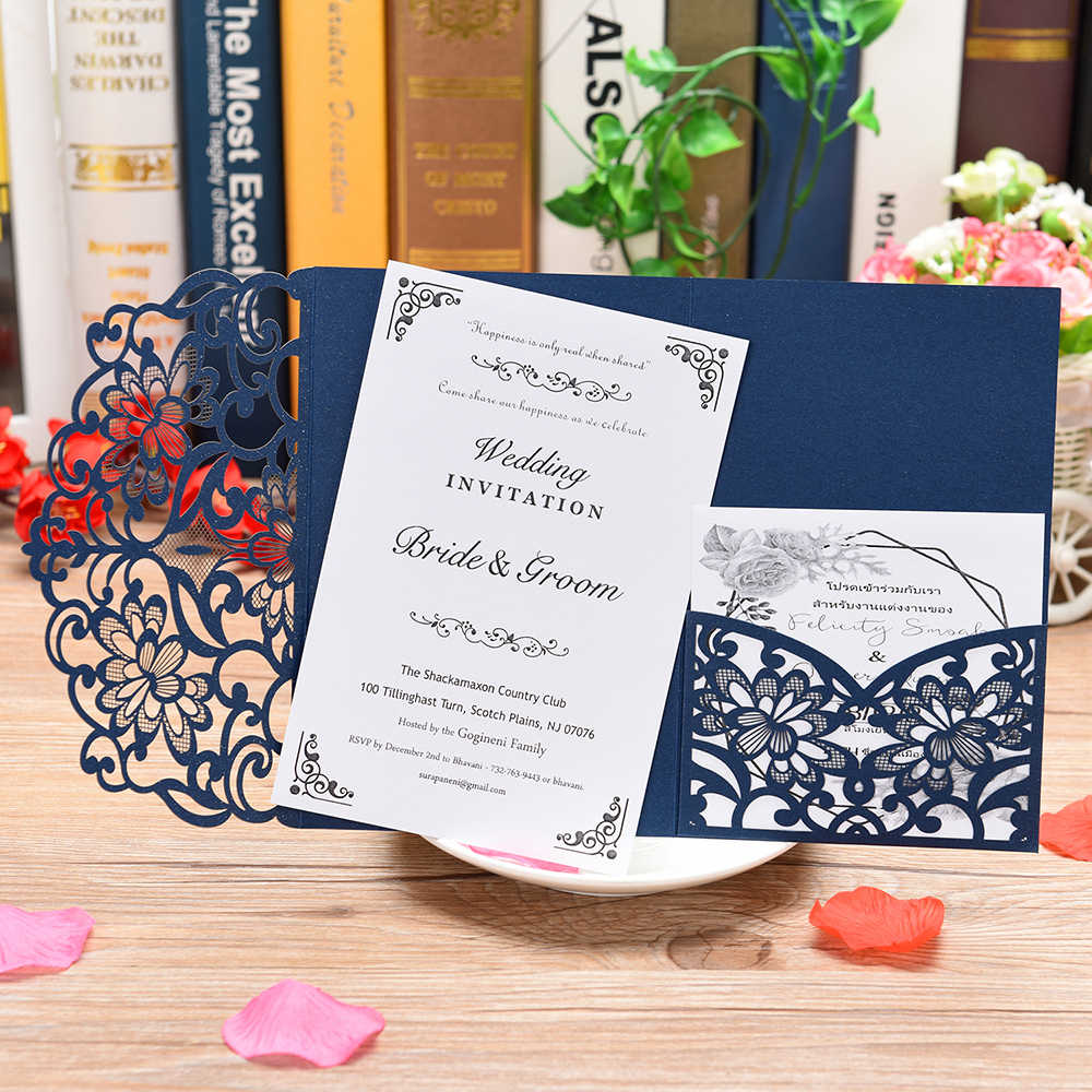 1 Piece  Pocket style postcards with RSVP cards for wedding/Gender Reveal/Anniversary/Graduation party,laser cut invitation card