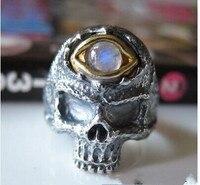 925 стерлингового серебра Ретро Weird череп лунный камень кольцо Мужчины безымянный палец