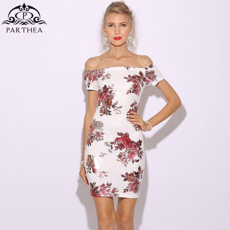76c74f296a Parthea Metallic Floral Dress Women Summer Dress Elegant Party Dresses Off  Shoulder Mini Bodycon White Dress Vestido De Festa