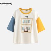 New Summer Tshirt Women Fashion Harajuku Kawaii Half Sleeve Patchwork Embroidery Cotton T Shirt Tops Cute